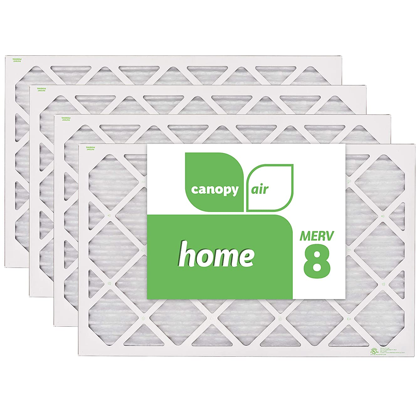 Canopy Air 16x25x1, Home AC Furnace Air Filter, MERV 8, Made in the USA, 4-Pack (Actual Size 15 1/2