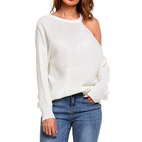 2fa3f882a42 ELESOL Women s Cold Open Shoulder Long Sleeve Loose Pullover Knitted Sweater