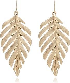 Boho Artistic Vintage Leaf Metal Dangle Drop Statement Earrings for Women