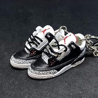 Pair Air jordan III 3 Retro Black Cement 88 OG Sneakers Shoes 3D Keychain 1:6 Figure