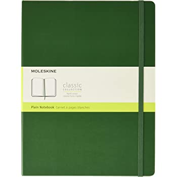 """Moleskine Classic Notebook, Hard Cover, XL (7.5"""" x 9.5"""") Plain/Blank, Myrtle Green, 192 Pages"""