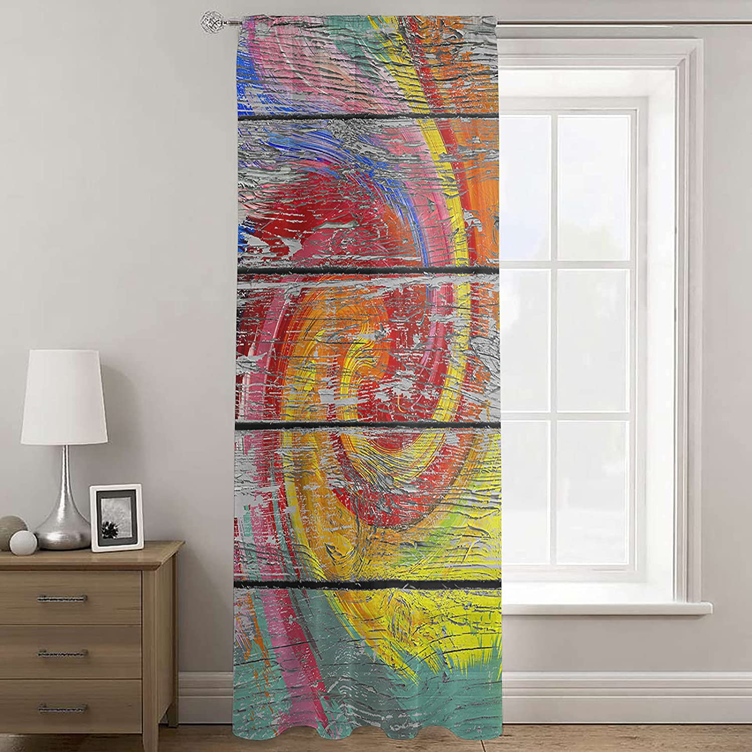 Sheer Voile Curtain 52Wx84L Super Special SALE held Inch Rain low-pricing Series Wood Grain Colorful