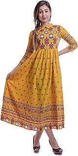 Urban Fab Women's Colorful Anarkali Designer Kurti with Zip in back - Mustered Yellow