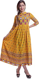 Urban Fab Women's Colorful Anarkali Designer Kurti with Zip in back - Mustered Yellow