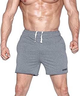 "BROKIG Mens Gym Workout Shorts 5"" Running Shorts Pants with Zipper Pockets"