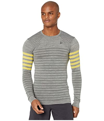 Craft Fuseknit Comfort Blocked Round Neck Long Sleeve (Dark Grey Melange/Buzz) Men