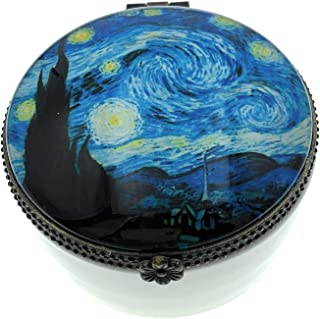 Value Arts Van Gogh Starry Night Trinket Box, Ceramic and Glass, 2.25 Inches Diameter