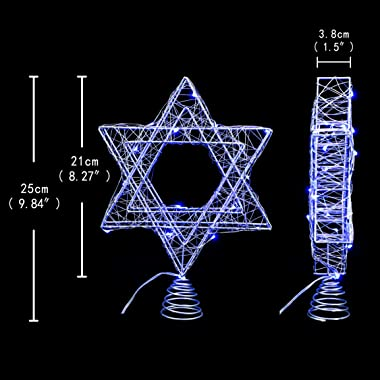 Impress Life Rattan Star of David Chanukah Christmas Tree Topper, with Warm White LED String, Wire Weaving, Battery Powered,