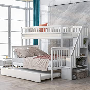 Amazon Com Softsea Twin Over Full Bunk Bed With Trundle And Stairs Wooden Bunk Beds For Bedroom White Kitchen Dining