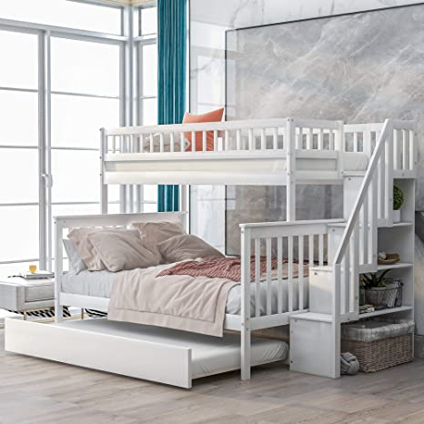 Amazon Com Baysitone Bunk Bed Bunk Beds Twin Over Full Size Bunk Bed With Trundle And Stairs Solid Wood Bunk Bed Frame With 4 Storage For Kids Girls Boys Toddler No Box Spring