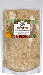 100% Natural Whole Grain Oat Groats | Made in USA, High in Fiber, De-Hulled, Uncut & Unrolled, High in Fiber, Fresh, Sproutable (14 Lb)