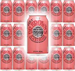 Dr. Browns Soda, Diet Black Cherry, 12 oz can (Pack of 18, Total 216 Oz)