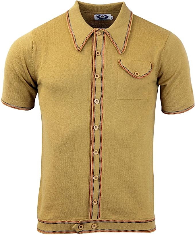 1960s Mens Shirts | 60s Mod Shirts, Hippie Shirts Madcap England Crawdaddy Micro Dash Knit Polo Caramel MC166 £34.99 AT vintagedancer.com