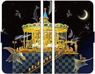 ブレインズ FREETEL KATANA02 FTJ152F 手帳型 ケース カバー メリーゴーランドしかない遊園地 ウエダマサノブ メリーゴーランド 羊 遊園地 ファンタジー 三日月