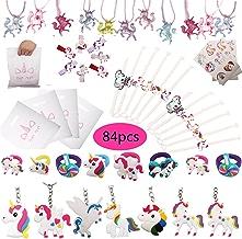 84 pcs Gutschein für Einhorn, Unicorn Armband, Ringe Schlüsselanhänger Halskette Tattoos Haarklammern Unicorn Party Taschen Rainbow Unicorn Geburtstagsparty liefert Set