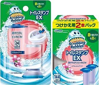 【まとめ買い】 スクラビングバブル トイレ洗浄剤 貼るタイプ トイレスタンプEX リフレッシュブーケの香り 本体(ハンドル1本)+付替3本(14スタンプ分) セット