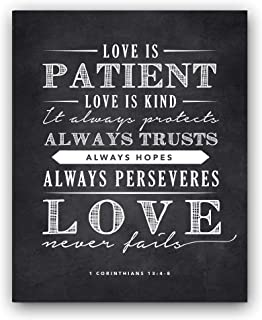 Ocean Drop Photography Corinthians 13;4-8 Love is Patient Quote Chalkboard Sign, Perfect Wedding (11x14)