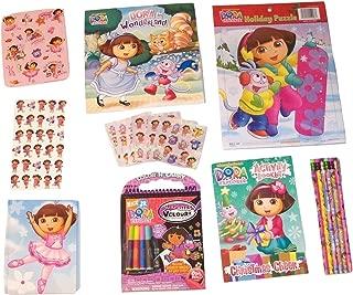 Dora the Explorer Activity Gift Set ~ Dancing Dora (Diary, Christmas Booklet, 3 Sticker Sets, Dora in Wonderland, Pencils, Surprizes Velour, Holiday Puzzle; 9 Items, 1 Bundle)