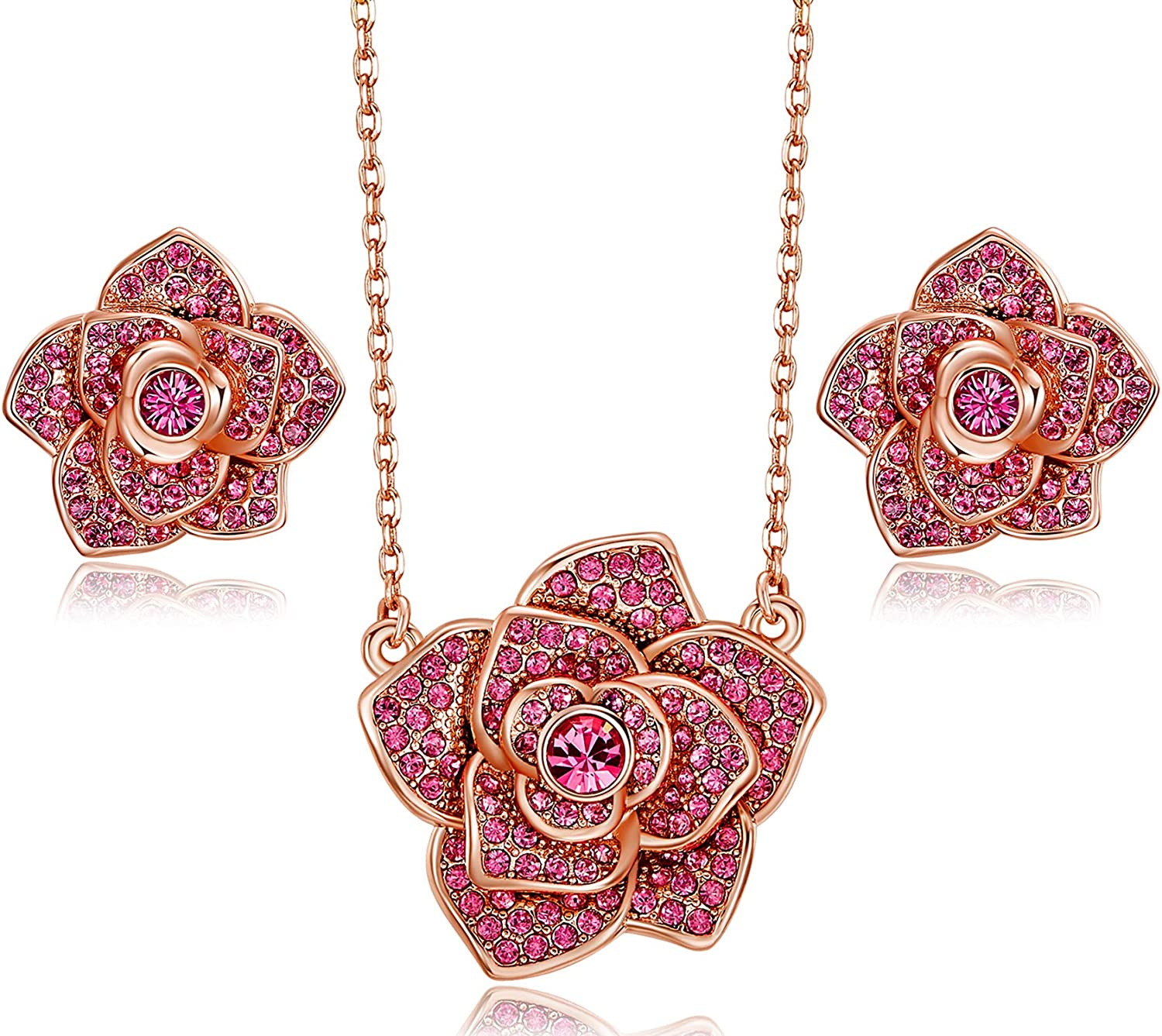 CDE Jewelry Set for Mother's Day Rose Necklace and Earrings Set for Women Girls Necklaces Embellished with Crystals from Swarovski Box