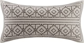 Echo Odyssey Oblong Fashion Cotton Throw Pillow, Global Inspired Embroidered Oblong Decorative Pillow, 10X20, Stone