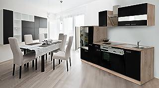 respekta Economy Küchenzeile 310 cm Eiche Sonoma Sägerau Front Schwarz Ceran & Designer-Schräghaube