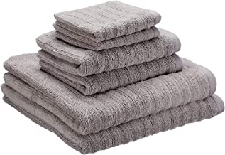Bath Towels Set Made of 100 Percent Cotton with Stripe Structure, Towels Set with 2 Hand Towels, 2 Bath Towels and 2 Face Cloths