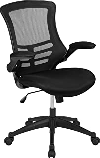 Flash Furniture Mid-Back Black Mesh Swivel Ergonomic Task Office Chair with Flip-Up Arms,..