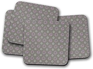 Posavasos grises con diseño abstracto rosa, posavasos individuales o juego de 4
