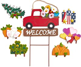 The Lakeside Collection 8-Pc. Interchangeable Garden Truck Stake Set with Seasonal Sign Loads
