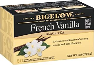 Bigelow French Vanilla Tea 20 Bags (Pack of 6), 120 Tea Bags Total.  Caffeinated Individual Black Tea Bags, for Hot Tea or Iced Tea, Drink Plain or Sweetened with Honey or Sugar