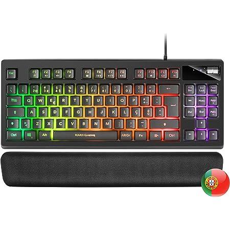 Mars Gaming MKAX Negro, Teclado Gaming TKL H-Mech, Reposamuñecas Gel, Layout PT