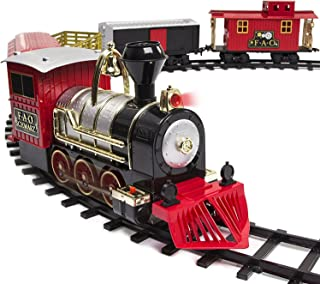 FAO Schwarz Classic Motorized Train Set, 75-Piece Complete Toy Set with Engine, Cargo, 40 Feet of Modular Tracks, for Children, 5 Unique Train Cars Light-Up LED, Realistic Sound Effects, Amazing Gift