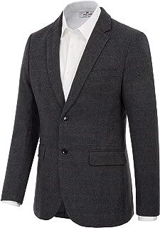 Men's Wool Blend Blazer Suits Jacket Slim Fit Plaid Sport Coat