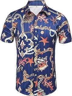 Daupanzees Men's Tropical Fruits Short Sleeve Aloha Hawaiian Shirts