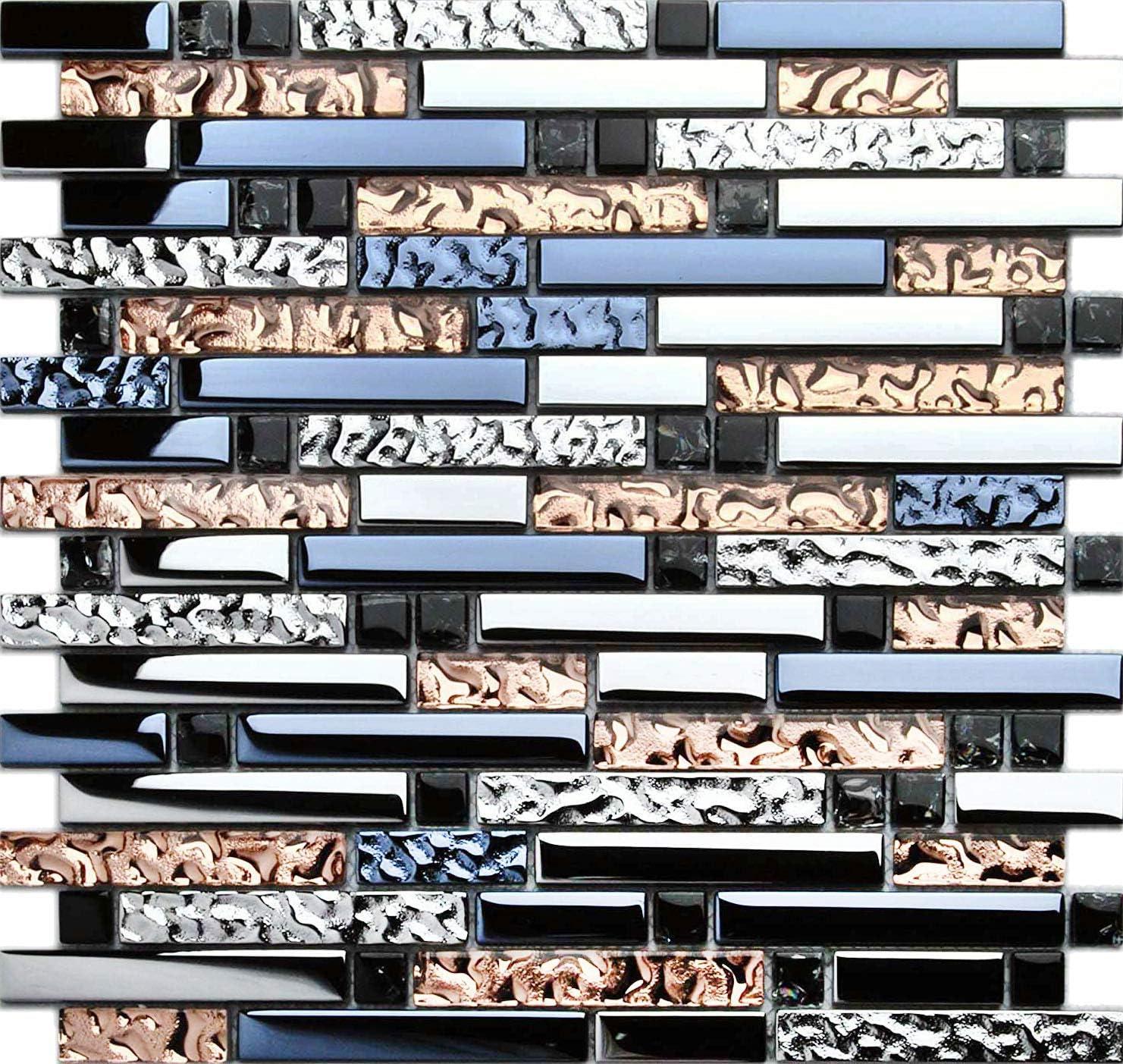 Hominter 11-Sheets Dark Blue and Tile Rapid rise Backsplash Rose Silv Gold Excellent