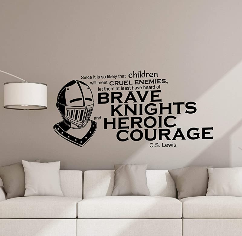 CS Lewis Wall Decal Quote C S Lewis Poster Heroic Knight Sign Vinyl Sticker Classroom Decor Library Decor Playroom Kids Room Wall Made In USA Fast Delivery