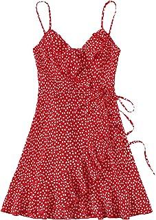 Romwe Women's Boho Floral Sundress Spaghetti Strap V Neck Ruffle Tie Knot Wrap Cami Dress