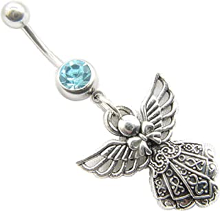 angel Belly Button Ring,angel Navel Ring, Guardian Angel , Belly Button Jewelry, Stainless Steel Belly Button Ring Body Jewelry,Belly Button Piercing