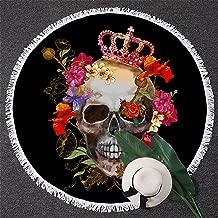 BlessLiving Skull Beach Towel Sugar Skull Crown Roundie Beach Towel Skull Flowers Round Beach Blanket (59 inch)