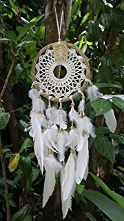 Boho Breeze: Dream Catcher Boho Style/Handmade Bohemian Decor Item/Crochet Hippie Gypsy Model/Weddings/Baby Showers/Wall Hanging Decoration/Bedroom or Living Room Ornament/Exquisite Feathers