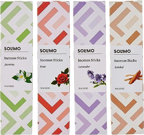 Amazon Brand Solimo Incense Sticks Multi fragrance 70 sticks pack Pack of 4