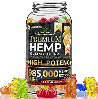 Wellution Hemp Gummies 985,000 High Potency - Fruity Gummy Bear with Hemp Oil, Natural Hemp Candy Supplements for Pain, An...