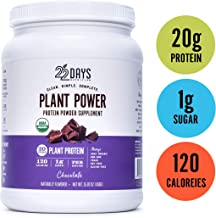 22 Days Nutrition Organic Protein Powder, Chocolate, 15.87 Ounce   Gluten Free, Vegan- Pea, Flax, and Sacha Inchi- Plant Based Protein Powder (20g) - No Added Sugar, Naturally Sweetened with Stevia