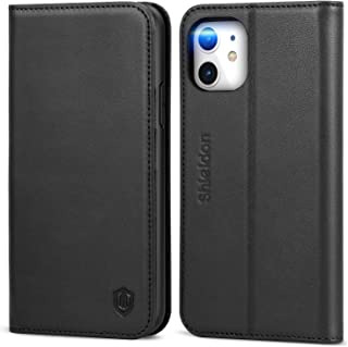 SHIELDON iPhone 11 Case, iPhone 11 Wallet Case, Genuine Leather iPhone 11 Folio Magnetic Cover Kickstand RFID Blocking Card Slots Compatible with iPhone 11 (6.1 Inch, 2019 Release) - Black