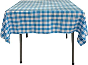 LA Linen Poly Checkered Square Tablecloth, 52 by 52-Inch, Turquoise/White