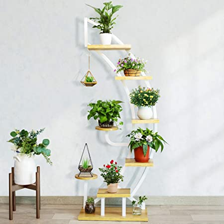 VIVOHOME 6 Tier 9 Potted Steel-Wood Plant Stand with Hanger, Curved Flower Pot Holder Shelf for Indoor Outdoor