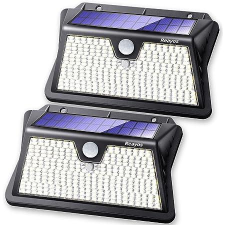 Reayos Solar Security Light, Upgraded Optics Lens Enhanced Brightness, 【283LED/3 Modes】Solar Motion Sensor Lights Outdoor, IP65 Waterproof Solar Powered Wall Lights for Door Garden Fence[2 Pack]