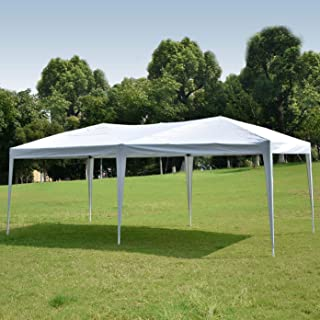 charaHOME Canopy Tent Pop Up Canopy Instant Tent Ez Up Canopy 10 x 20 White Portable Shade Folding Outdoor Shelter Heavy Duty Tent for Parties Backyard Patio Wedding Commercial Activity Pavilion BBQ