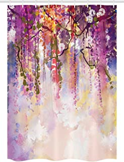 Ambesonne Watercolor Flower Stall Shower Curtain, Spring Flowers Floral Texture Print of Vibrant Japanese Garden, Fabric Bathroom Decor Set with Hooks, 54 W x 78 L inches, Peach Purple Coral