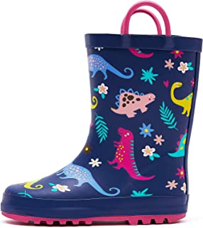أحذية المطر للأطفال الأولاد والبنات من كيه كومفورم، مصنوعة من المطاط المقاوم للماء ومطبوع بمقابض